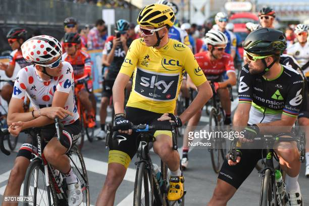 Warren BARGUIL Christopher FROOME and Mark Cavendish at the start to 589km Main Race during the 5th edition of TDF Saitama Criterium 2017 On Saturday...