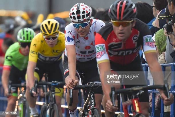 Warren BARGUIL in action just beind Greg VAN AVERMAET and ahead of Christopher FROOME and Rigoberto URAN during 589km Main Race of the 5th edition of...
