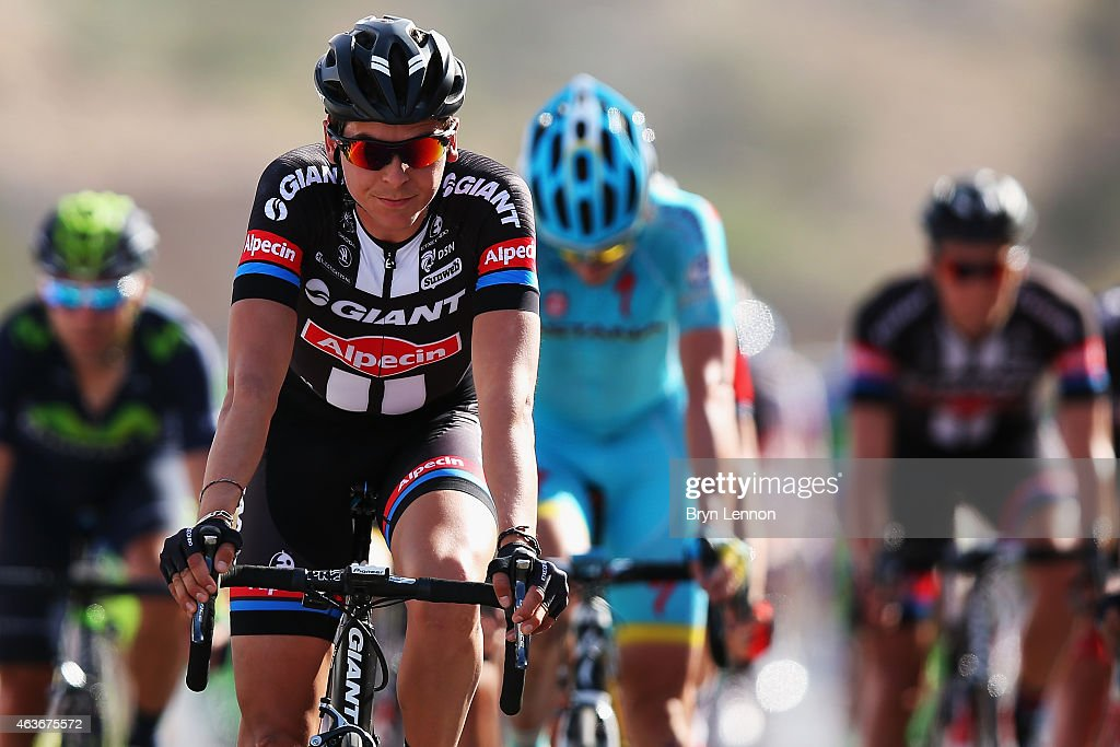 <a gi-track='captionPersonalityLinkClicked' href=/galleries/search?phrase=Warren+Barguil&family=editorial&specificpeople=11347510 ng-click='$event.stopPropagation()'>Warren Barguil</a> of France and Team Giant-Alpecin crosses the finishline on stage one of the 2015 Tour of Oman, a 161km road stage from Bayt Al Naman Castle to Al Wutayyah on February 17, 2015 in Al Wutayyah, Oman.