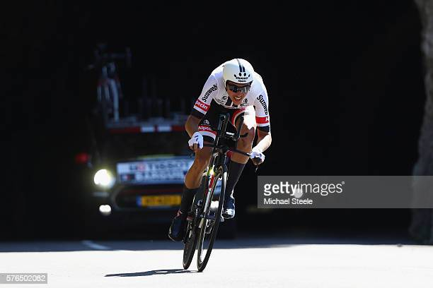 Warren Barguil of France and Team GiantAlpecin during the 37km Individual Time Trial stage thirteen of Le Tour de France from BourgSaintAndeol to La...
