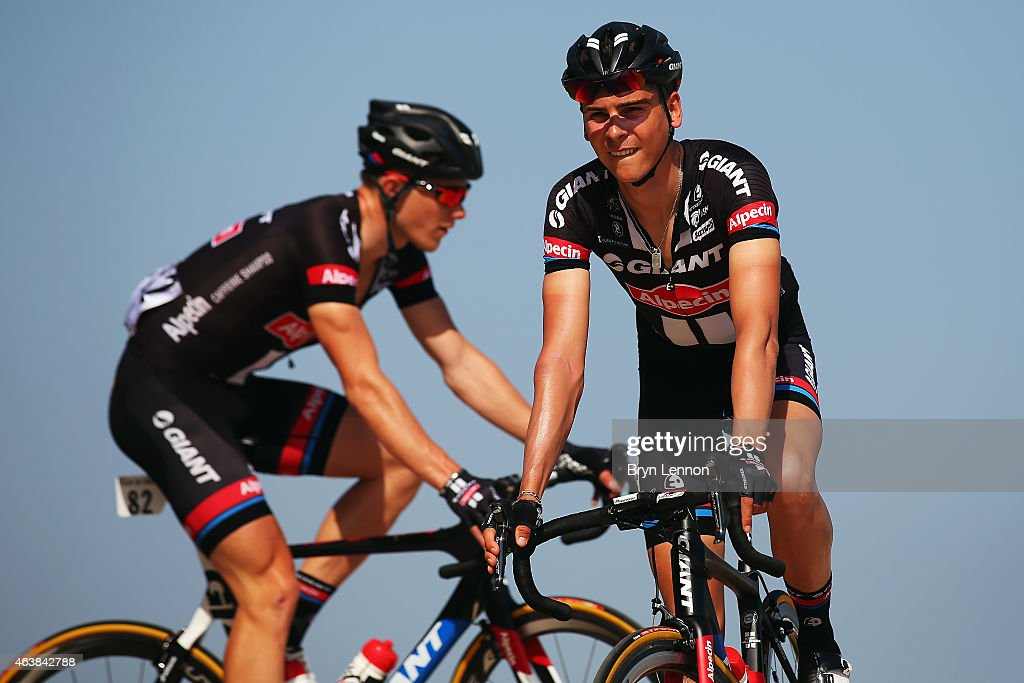<a gi-track='captionPersonalityLinkClicked' href=/galleries/search?phrase=Warren+Barguil&family=editorial&specificpeople=11347510 ng-click='$event.stopPropagation()'>Warren Barguil</a> of France and Team Giant-Alpecin rides to the start of stage three of the 2015 Tour of Oman, a 158.5km road stage from Al Mussanah Sports City to Al Mussanah Sports City on February 19, 2015 in Al Mussanah, Oman.