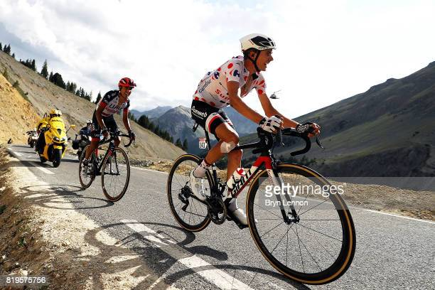Warren Barguil of France and Team Sunweb rides up the Col d'Izoard on his way to winning stage eighteen of the 2017 Tour de France a 1795km stage...