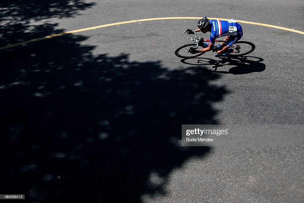 <a gi-track='captionPersonalityLinkClicked' href=/galleries/search?phrase=Warren+Barguil&family=editorial&specificpeople=11347510 ng-click='$event.stopPropagation()'>Warren Barguil</a> of France competes during the International Road Cycling Challenge test event, ahead of the Rio 2016 Olympic Games at Vista Chinesa on August 16, 2015 in Rio de Janeiro, Brazil.
