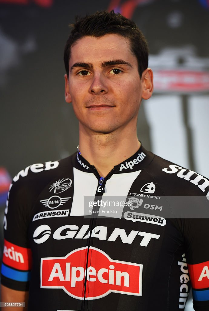 <a gi-track='captionPersonalityLinkClicked' href=/galleries/search?phrase=Warren+Barguil&family=editorial&specificpeople=11347510 ng-click='$event.stopPropagation()'>Warren Barguil</a> of France poses for a picture at the presentation of team GIANT-Alpecin at the Italian embassy on January 7, 2016 in Berlin, Germany.