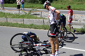 Warren Barguil of France riding for Team GiantAlpecin crashes during stage seventeen of the 2016 Le Tour de France a 1845km stage from Berne to...