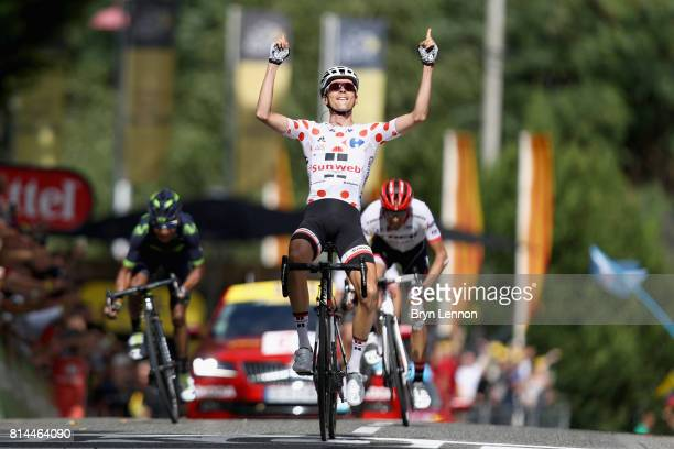 Warren Barguil of France riding for Team Sunweb celebrates crossing the line in 1st place during stage 13 of the Le Tour de France 2017 a 101km stage...