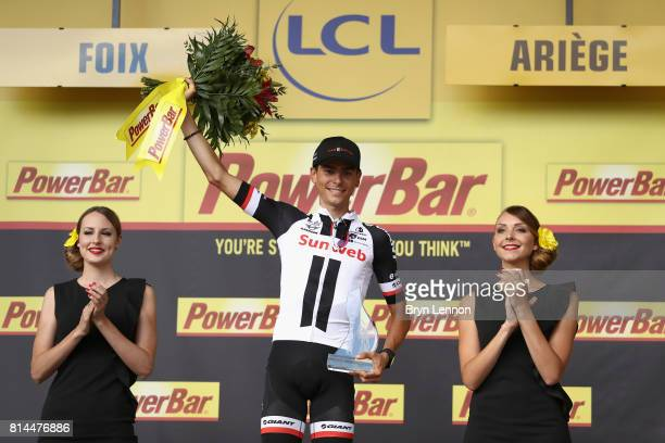 Warren Barguil of France riding for Team Sunweb celebrates winning the stage after stage 13 of the Le Tour de France 2017 a 101km stage from...