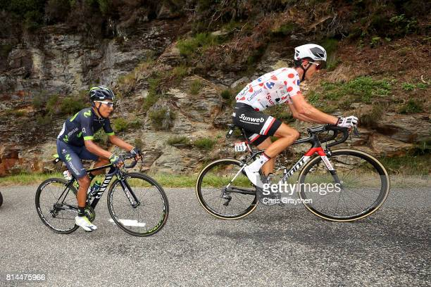 Warren Barguil of France riding for Team Sunweb in the king of the mountains jersey and Nairo Quintana of Colombia riding for Movistar Team race...