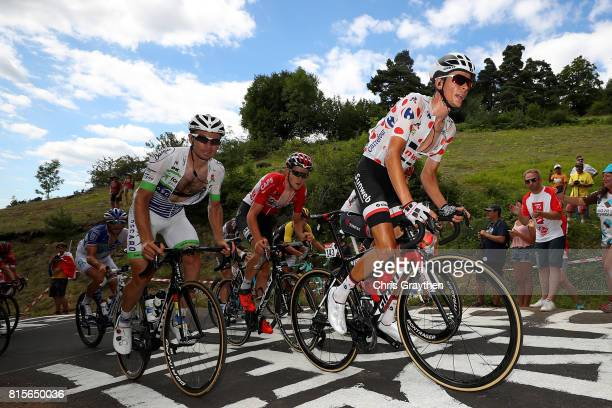Warren Barguil of France riding for Team Sunweb in the king of the mountains jersey rides in the breakaway during stage 15 of the 2017 Le Tour de...