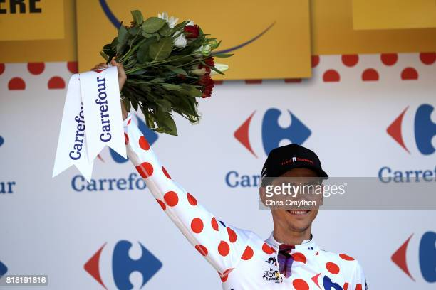 Warren Barguil of France riding for Team Sunweb in the king of the mountains jersey poses for a photo on the podium after stage 16 of the 2017 Le...