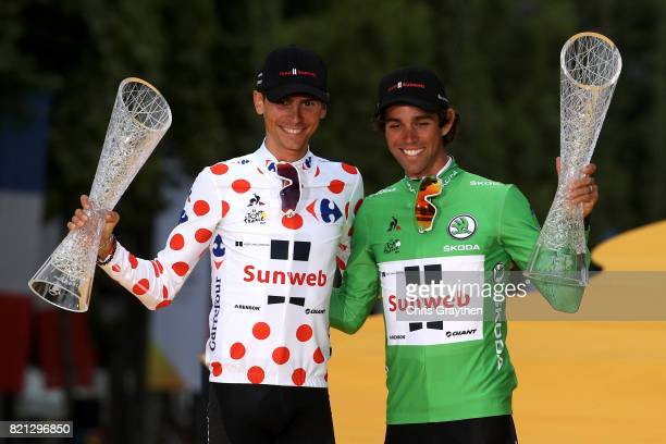 Warren Barguil of France riding for Team Sunweb in the king of the mountains jersey and Michael Matthews of Australia riding for Team Sunweb in the...
