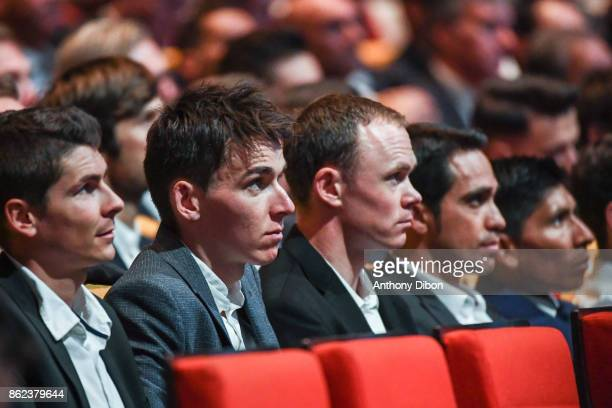 Warren Barguil Romain Bardet Christopher Froome Alberto Contador Nairo Quintana during the presentation of the Tour de France 2018 at Palais des...