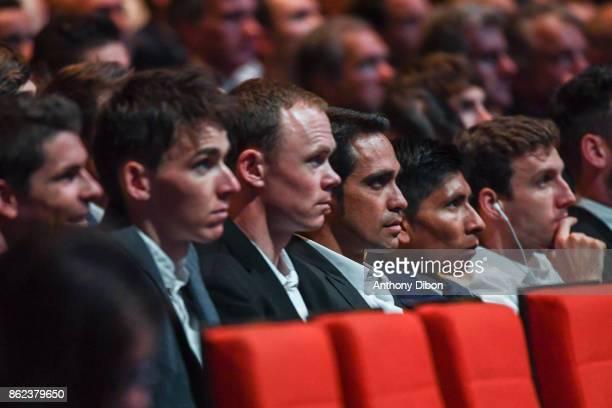 Warren Barguil Romain Bardet Christopher Froome Alberto Contador Nairo Quintana Simon Yates during the presentation of the Tour de France 2018 at...