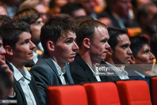 Warren Barguil Romain Bardet Christopher Froome Alberto Contador Nairo Quintana during the presentation of the Tour de France 2018 at Palais des...