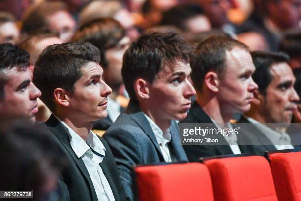 Warren Barguil Romain Bardet Christopher Froome Alberto Contador during the presentation of the Tour de France 2018 at Palais des Congres on October...