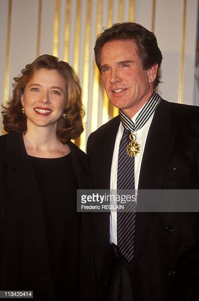 Warren Beatty And Annette Bening In Paris On March 2nd 1992
