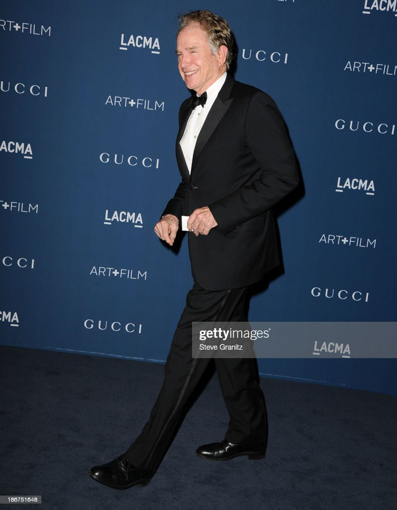 <a gi-track='captionPersonalityLinkClicked' href=/galleries/search?phrase=Warren+Beatty&family=editorial&specificpeople=201478 ng-click='$event.stopPropagation()'>Warren Beatty</a> arrives at the LACMA 2013 Art + Film Gala at LACMA on November 2, 2013 in Los Angeles, California.