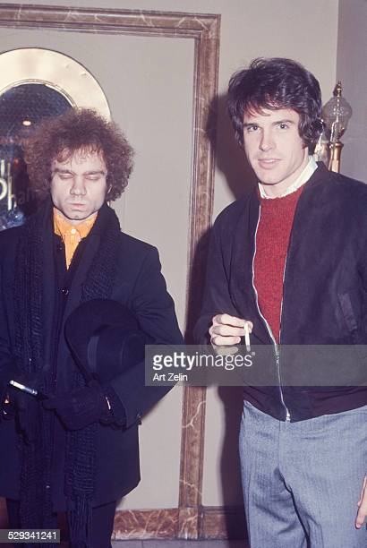 Warren Beatty with Michael J Pollard circa 1970 New York