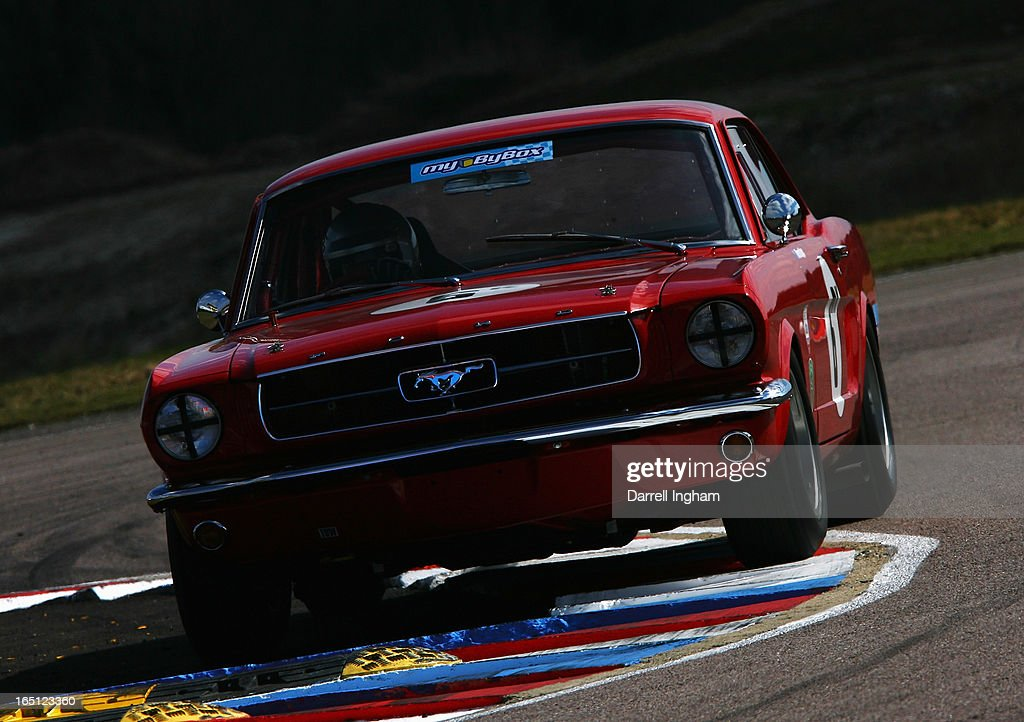 Warren Briggs drives the #6 Ford Mustang during the ByBox Historic Touring Car Championship race at the Historic Sports Car Club Thruxton Revival Meeting at the Thruxton Circuit on March 31, 2013 near Andover, United Kingdom.