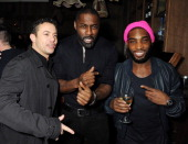 Warren Brown Idris Elba and Tinie Tempah attend Love Liquor Nightclub on January 25 2013 in London