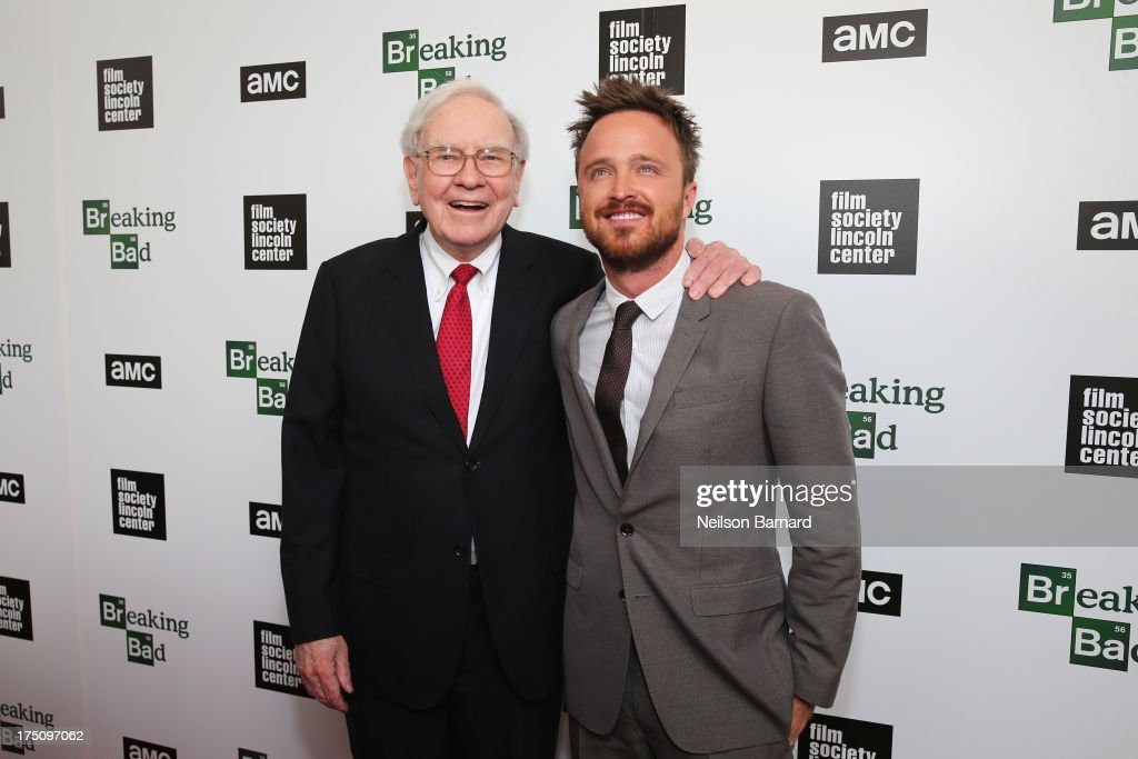 <a gi-track='captionPersonalityLinkClicked' href=/galleries/search?phrase=Warren+Buffett&family=editorial&specificpeople=533069 ng-click='$event.stopPropagation()'>Warren Buffett</a> and actor <a gi-track='captionPersonalityLinkClicked' href=/galleries/search?phrase=Aaron+Paul+-+Actor&family=editorial&specificpeople=693211 ng-click='$event.stopPropagation()'>Aaron Paul</a> attends The Film Society of Lincoln Center and AMC Celebration of 'Breaking Bad' Final Episodes at The Film Society of Lincoln Center, Walter Reade Theatre on July 31, 2013 in New York City.