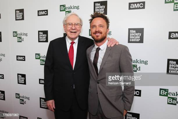 Warren Buffett and actor Aaron Paul attends The Film Society of Lincoln Center and AMC Celebration of 'Breaking Bad' Final Episodes at The Film...