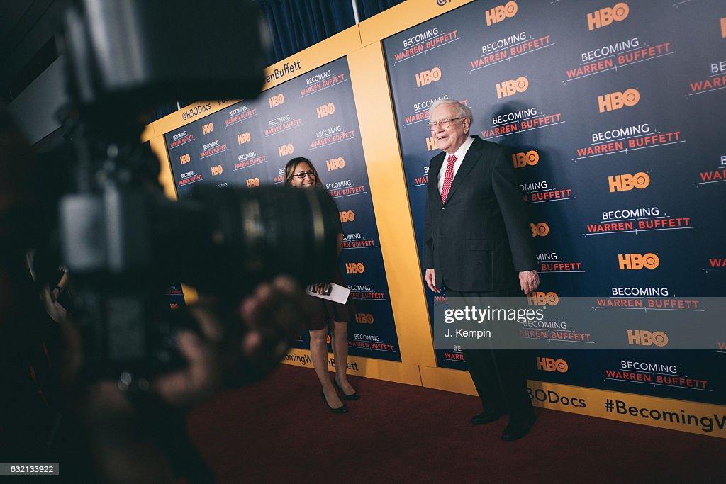 Warren Buffett attends the 'Becoming Warren Buffett' World Premiere at The Museum of Modern Art on January 19, 2017 in New York City.