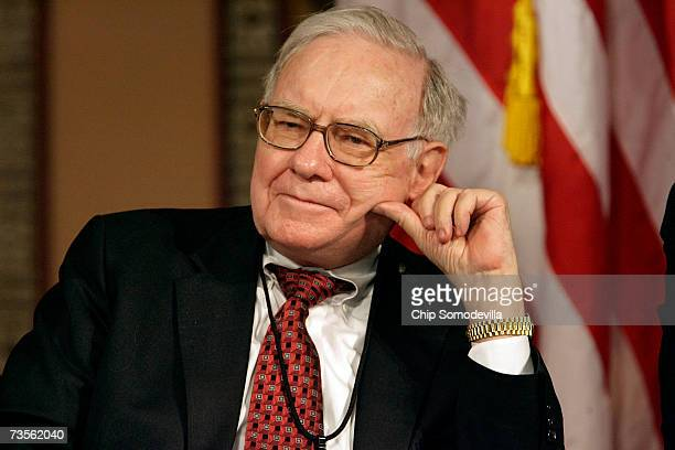 Warren Buffett chairman and CEO of Berkshire Hathaway Inc participates in a panel discussion 'Framing the Issues Markets Perspectives' at Georgetown...
