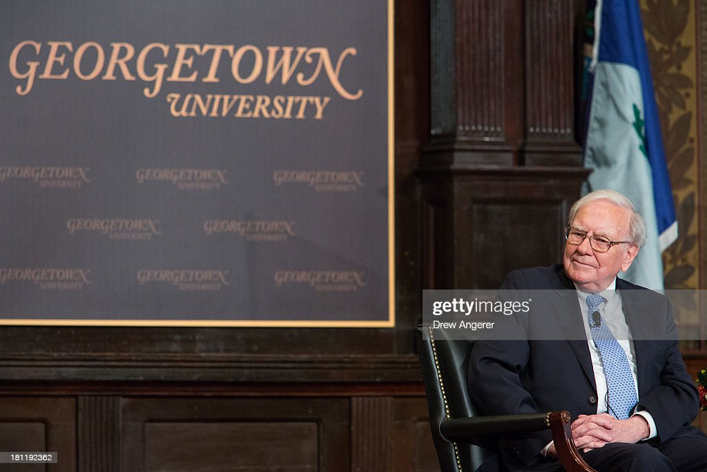 <a gi-track='captionPersonalityLinkClicked' href=/galleries/search?phrase=Warren+Buffett&family=editorial&specificpeople=533069 ng-click='$event.stopPropagation()'>Warren Buffett</a>, chairman of the board and CEO of Berkshire Hathaway, is introduced in Gaston Hall at Georgetown University, September 19, 2013 in Washington, DC. Bank of America CEO Brian Moynihan moderated the discussion with Buffett. Buffett also took questions from Georgetown students.