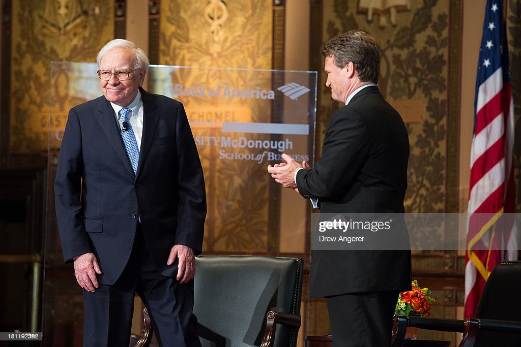 <a gi-track='captionPersonalityLinkClicked' href=/galleries/search?phrase=Warren+Buffett&family=editorial&specificpeople=533069 ng-click='$event.stopPropagation()'>Warren Buffett</a> (L), chairman of the board and CEO of Berkshire Hathaway, is introduced with Bank of America CEO Brian Moynihan, before speaking in Gaston Hall at Georgetown University, September 19, 2013 in Washington, DC. Buffett also took questions from Georgetown students.