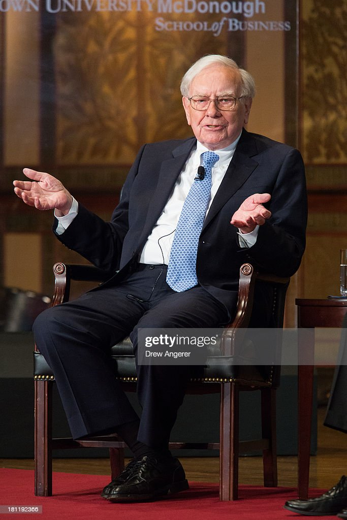 <a gi-track='captionPersonalityLinkClicked' href=/galleries/search?phrase=Warren+Buffett&family=editorial&specificpeople=533069 ng-click='$event.stopPropagation()'>Warren Buffett</a>, chairman of the board and CEO of Berkshire Hathaway, speaks in Gaston Hall at Georgetown University, September 19, 2013 in Washington, DC. Bank of America CEO Brian Moynihan moderated the discussion with Buffett. Buffett also took questions from Georgetown students.