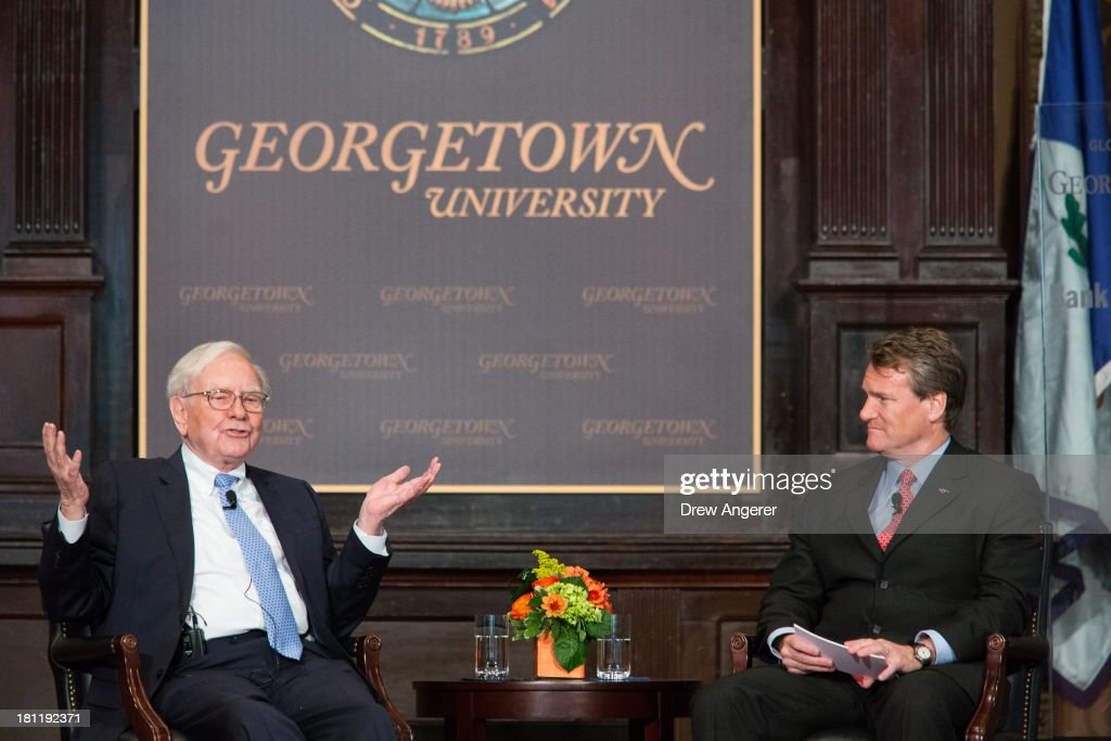 <a gi-track='captionPersonalityLinkClicked' href=/galleries/search?phrase=Warren+Buffett&family=editorial&specificpeople=533069 ng-click='$event.stopPropagation()'>Warren Buffett</a>, chairman of the board and CEO of Berkshire Hathaway, speaks with Bank of America CEO Brian Moynihan in Gaston Hall at Georgetown University, September 19, 2013 in Washington, DC. Buffett also took questions from Georgetown students.