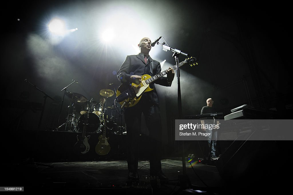 Warren Cann Midge Ure and Billy Currie of Ultravox perform on stage at Kesselhaus on October 29 2012 in Munich Germany