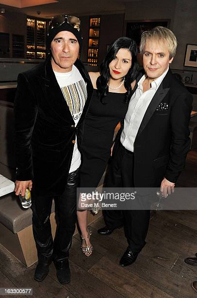 Warren Cuccurullo Nefer Suvio and Nick Rhodes attend an after party celebrating Duran Duran keyboardist Nick Rhodes' exhibition 'BEI INCUBI Beautiful...