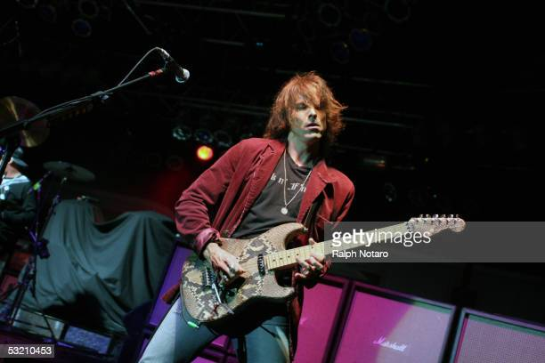 Warren DeMartini of Ratt performs during the 'Rock Never Stops' Tour at the Pompano Beach Amphitheater on July 7 2005 in Pompano Florida