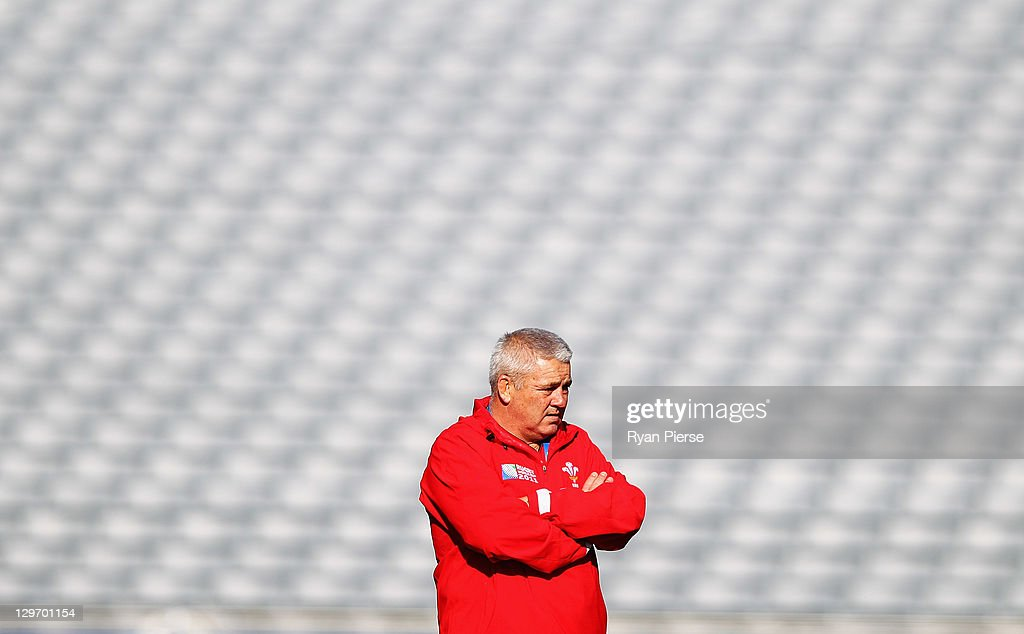 <a gi-track='captionPersonalityLinkClicked' href=/galleries/search?phrase=Warren+Gatland&family=editorial&specificpeople=686626 ng-click='$event.stopPropagation()'>Warren Gatland</a>, coach of Wales looks on during a Wales IRB Rugby World Cup 2011 captain's run at Eden Park on October 20, 2011 in Auckland, New Zealand.