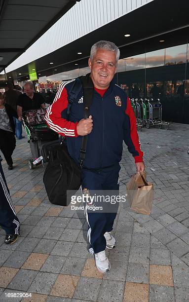Warren Gatland head coach of the British and Irish Lions arrives at Perth Airport on June 3 2013 in Perth Western Australia