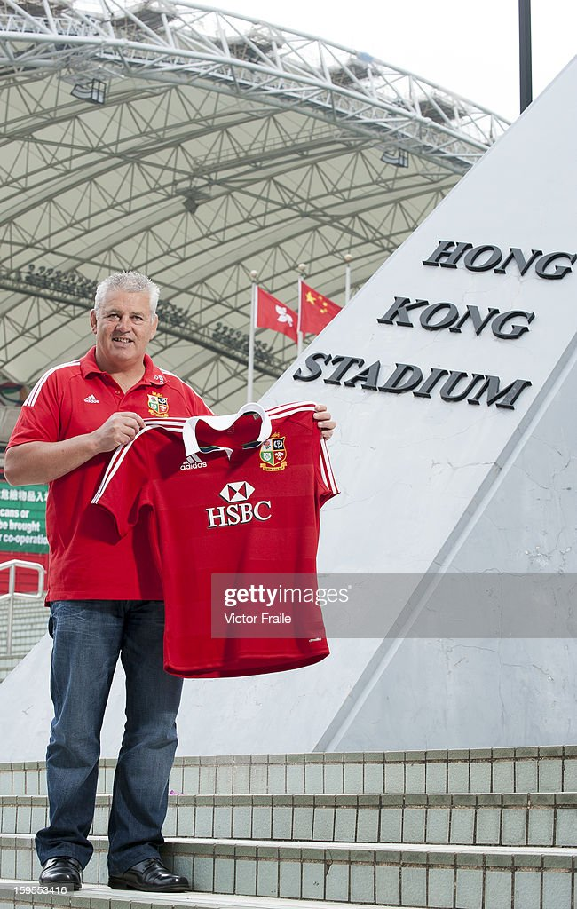 <a gi-track='captionPersonalityLinkClicked' href=/galleries/search?phrase=Warren+Gatland&family=editorial&specificpeople=686626 ng-click='$event.stopPropagation()'>Warren Gatland</a>, head coach of the British & Irish Lions poses for pictures during an HSBC photo call at the Hong Kong Stadium on January 15, 2013 in Hong Kong. The British & Irish Lions play the first match of their 2013 Tour against the Barbarians on 1st June 2013 in Hong Kong. HSBC is proud Principal Partner of The British & Irish Lions.