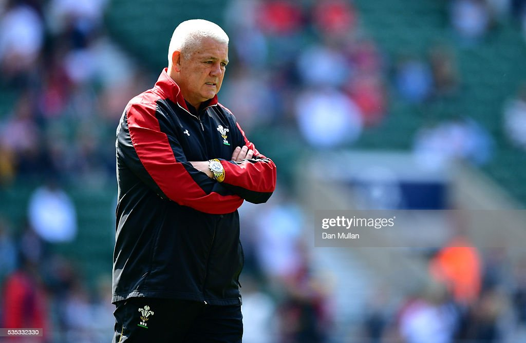 <a gi-track='captionPersonalityLinkClicked' href=/galleries/search?phrase=Warren+Gatland&family=editorial&specificpeople=686626 ng-click='$event.stopPropagation()'>Warren Gatland</a>, Head Coach of Wales looks on prior to the Old Mutual Wealth Cup match between England and Wales at Twickenham Stadium on May 29, 2016 in London, England.