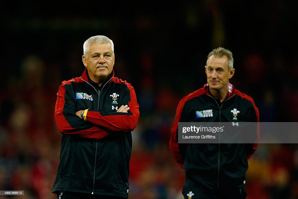 <a gi-track='captionPersonalityLinkClicked' href=/galleries/search?phrase=Warren+Gatland&family=editorial&specificpeople=686626 ng-click='$event.stopPropagation()'>Warren Gatland</a>, Head Coach of Wales looks on with <a gi-track='captionPersonalityLinkClicked' href=/galleries/search?phrase=Rob+Howley&family=editorial&specificpeople=215419 ng-click='$event.stopPropagation()'>Rob Howley</a>, Attack Coach of Wales prior to the 2015 Rugby World Cup Pool A match between Wales and Uruguay at the Millennium Stadium on September 20, 2015 in Cardiff, United Kingdom.