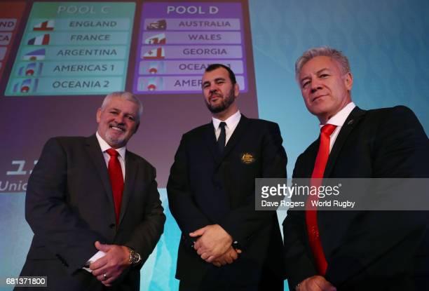 Warren Gatland Head Coach of Wales Michael Cheika Head Coach of Australia and Milton Haig Head Coach of Georgia pose during the Rugby World Cup 2019...