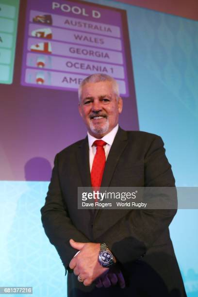 Warren Gatland Head Coach of Wales poses during the Rugby World Cup 2019 Pool Draw at the Kyoto State Guest House on May 10 2017 in Kyoto Japan