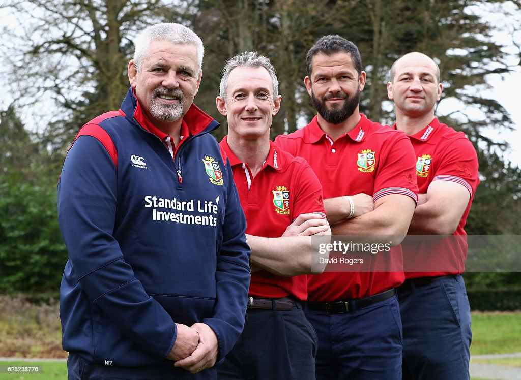 Warren Gatland, head coach, Rob Howley, backs coach, Andy Farrell, defence coach and Steve Borthwick the forwards coach during the 2017 British & Irish Lions Coaching Team Announcement held at Carton House Hotel on December 7, 2016 in Maynooth, Ireland.