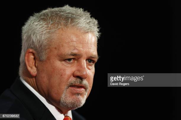 Warren Gatland speaks to the media during the British and Irish Lions tour squad announcement at the Hilton London Syon Park Hotel on April 19 2017...
