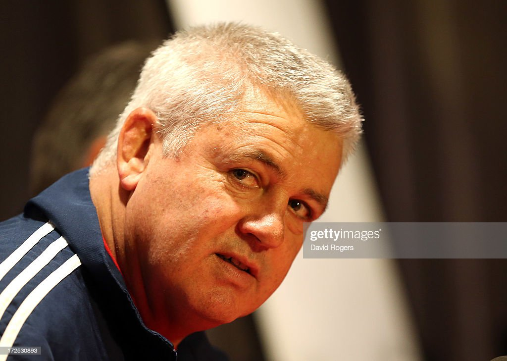 <a gi-track='captionPersonalityLinkClicked' href=/galleries/search?phrase=Warren+Gatland&family=editorial&specificpeople=686626 ng-click='$event.stopPropagation()'>Warren Gatland</a>, the British and Irish Lions head coach faces the media during the British and Irish Lions media session held on July 3, 2013 in Noosa, Queensland, Australia.