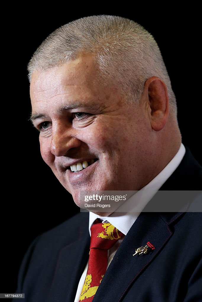 Warren Gatland the British and Irish Lions Head Coach is interviewed following the 2013 British and Irish Lions tour squad and captain announcement at London Syon Park Hotel on April 30, 2013 in London, England.