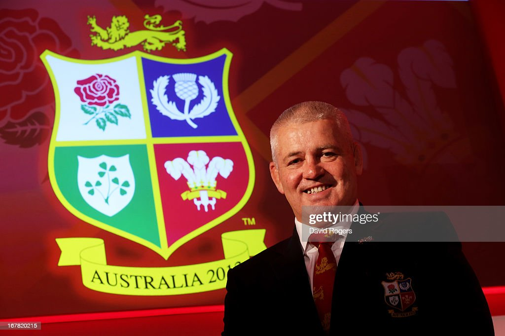 <a gi-track='captionPersonalityLinkClicked' href=/galleries/search?phrase=Warren+Gatland&family=editorial&specificpeople=686626 ng-click='$event.stopPropagation()'>Warren Gatland</a> the British and Irish Lions Head Coach poses for the cameras the 2013 British and Irish Lions tour squad and captain announcement at London Syon Park Hotel on April 30, 2013 in London, England.