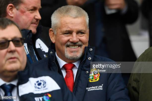 Warren Gatland the head coach of the British and Irish Lions 2017 attends the RBS Six Nations match between Scotland and Wales at Murrayfield Stadium...