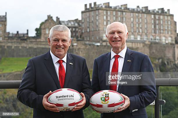 Warren Gatland the Head Coach of the British Irish Lions and John Spencer the Tour Manager of the British Irish Lions pose for the cameras following...