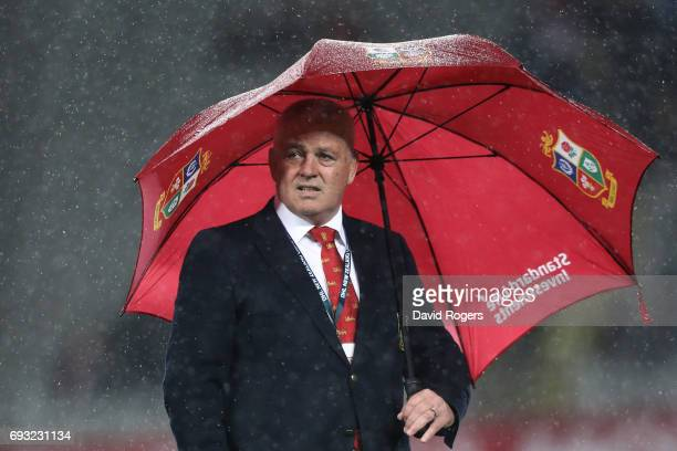 Warren Gatland the head coach of the British Irish Lions looks on prior to kickoff during the 2017 British Irish Lions tour match between the Blues...